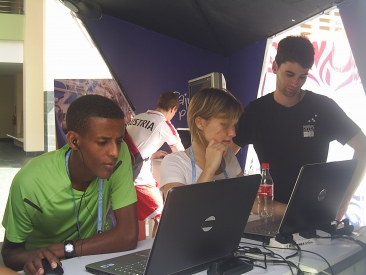 Athletes Playing in CIFP Booth in Singapore