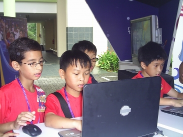 School Kids Playing in CIFP Booth