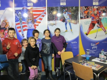 Kids at CIFP Booth in Innsbruck