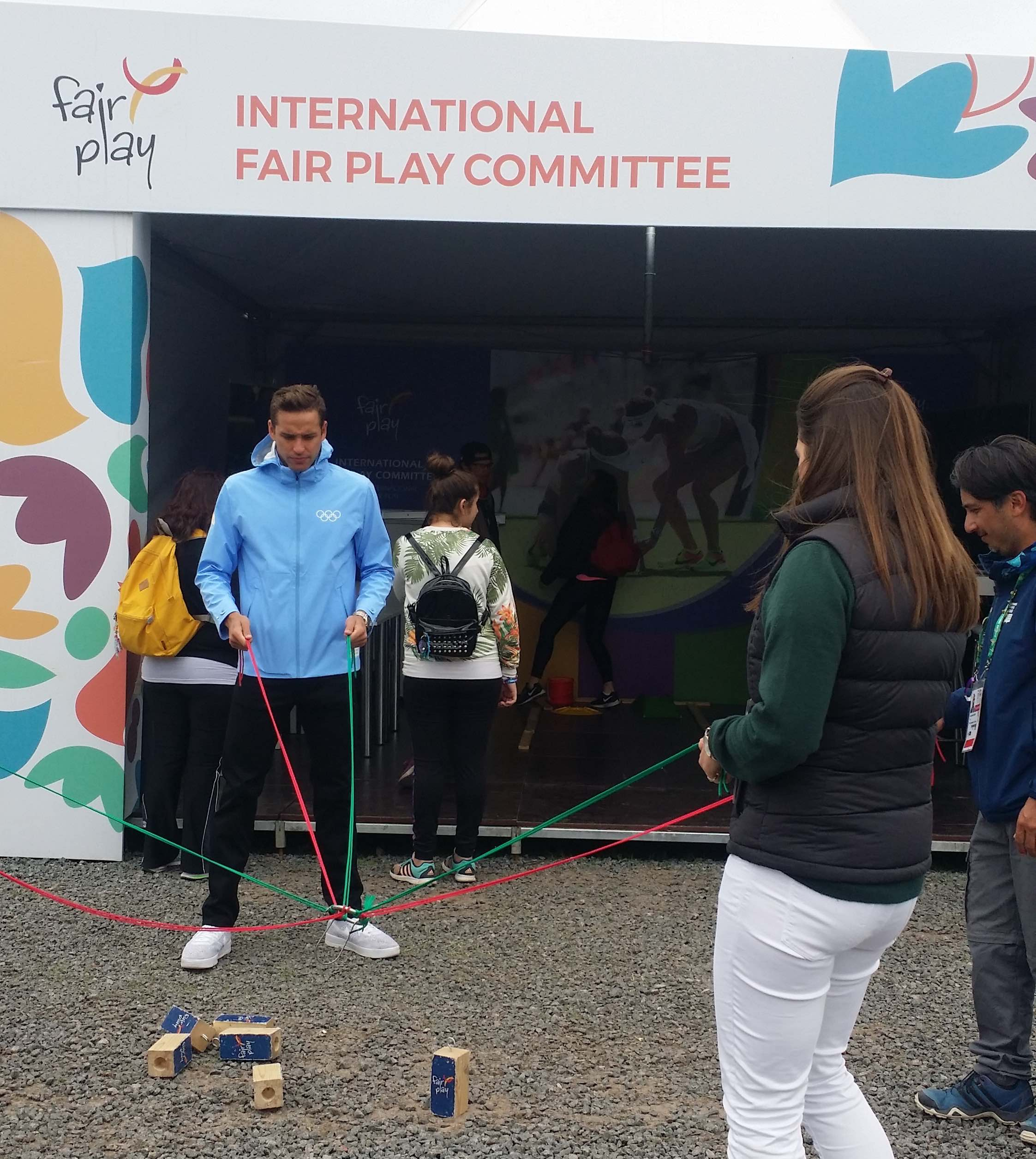 Chad Le Clos at CIFP Fair Play Booth in Buenos Aires