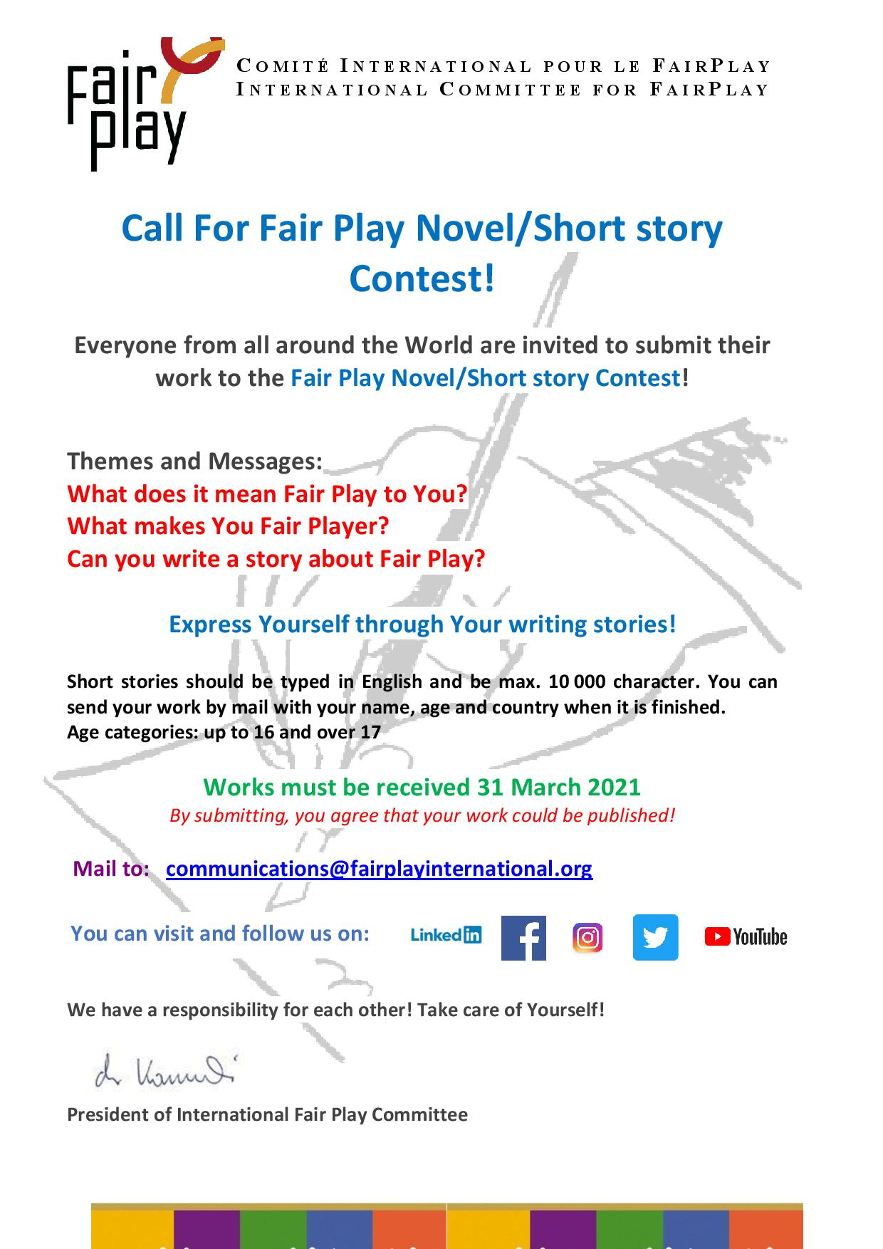 Call For Fair Play Novel-Short Story Contest